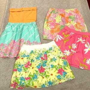 Lilly Pulitzer BUNDLE of 4 skirts halter top dress